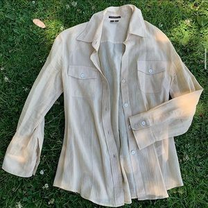 Beige theory button up